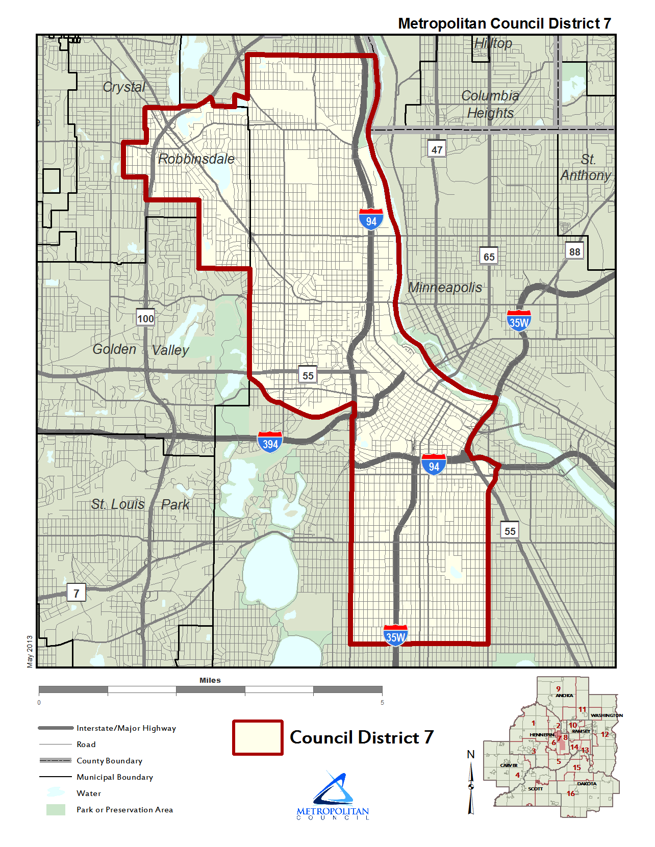 Metropolitan Council District 7 map