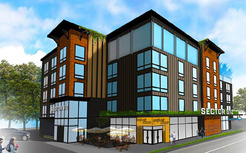 Artist rendering of five story multi-use building