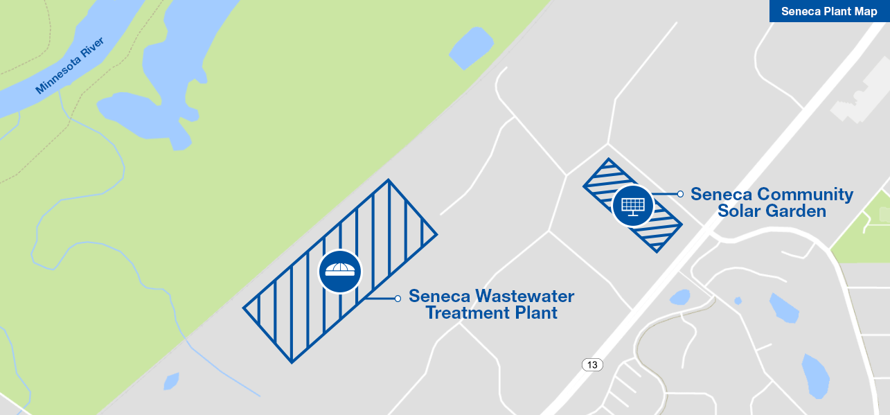 Map showing location of Seneca Wastewater Treatment Plant southeast of the Minnesota River and northwest of Highway 13.  The Seneca Community Solar Garden is perpendicular to Highway 13, to the east of the plant.