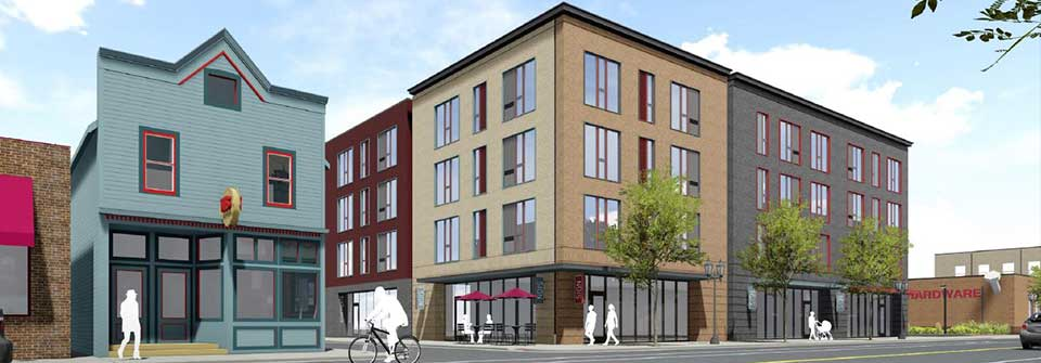 Rendering of a new mixed-use building on a street with businesses.