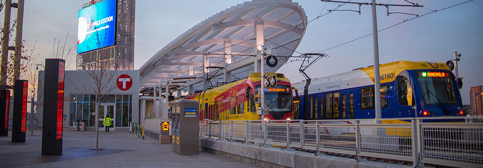 Light rail vehicles at Target Station.