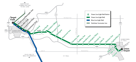 Central Corridor (Green Line) route map.