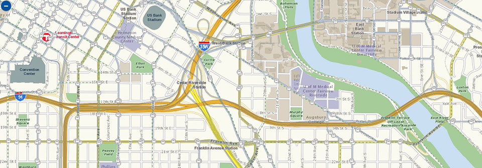 Excerpt of Map It map showing downtown Minneapolis and U of M bus routes